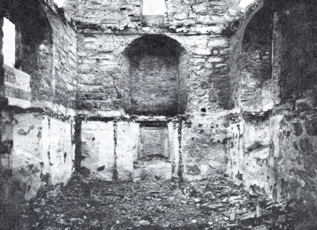 Kapellet etter brannen i 1916 (Foto: Lokalhistoriwiki)