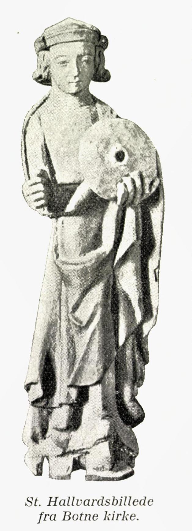 Den eldste avbildningen av Hallvard er en liten statue fra Botne kirke i Holmestrand kommune (1100/1200-t)
