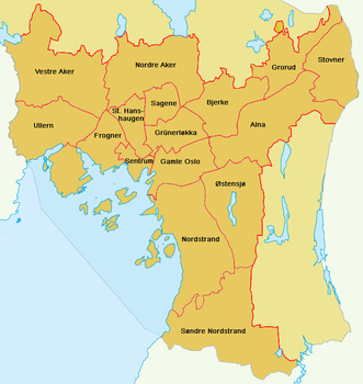 oslo bydeler kart Oslos bydeler   lokalhistoriewiki.no oslo bydeler kart
