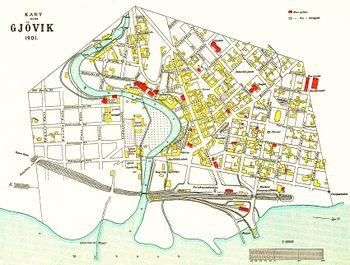 kart gjøvik Gjøvik (tettsted)   lokalhistoriewiki.no kart gjøvik