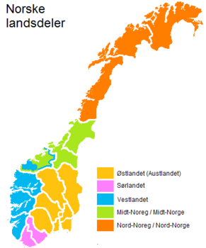 kart landsdeler norge Midt Noreg   lokalhistoriewiki.no kart landsdeler norge