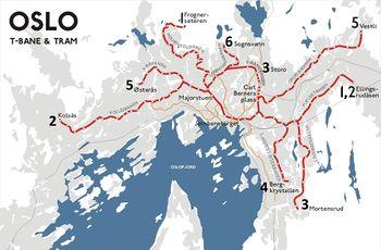 kart over trikk oslo T banen   lokalhistoriewiki.no kart over trikk oslo