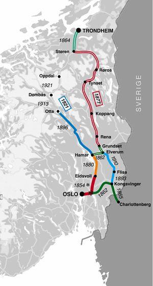 Jernbanen Christiania Trondhjem Lokalhistoriewiki No