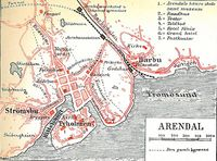 Karta Arendal Norge.Arendal Lokalhistoriewiki No